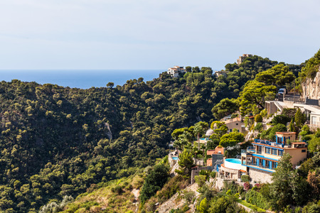 House with pool in the hills on Cote dAzur, ocean and forrest, France Stock Photo