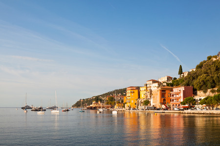 Villefranche-sur-Mer town with some boats, Cote dAzur, France