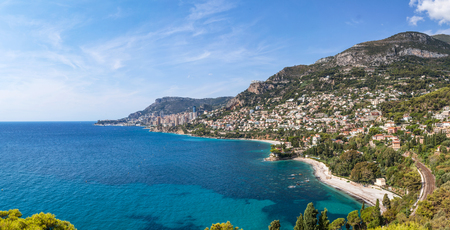 View to Monte Carlo and Larvotto in Principality of Monaco and Roquebrune-Cap-Martin, French Riviera, France Stock Photo