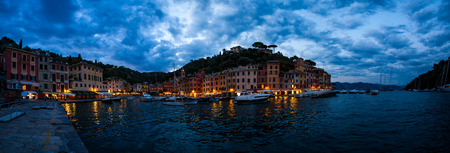 Dramatic cloudy sky over the city of Portofino, Liguria, Italy