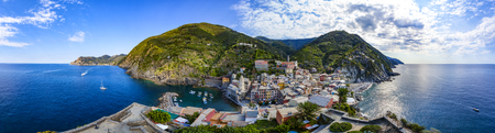 Vernazza, one of five villages in Cinque Terre National Park and is a UNESCO World Heritage Site on Italian Riviera. Panorama-View from Doria Castle Stock Photo