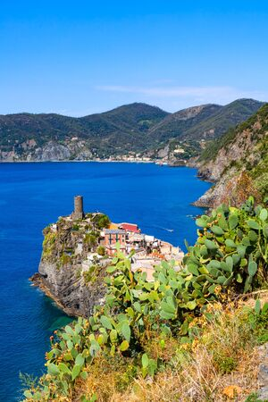 Vernazza, one of five villages in Cinque Terre National Park   on Italian Riviera Stock Photo