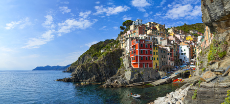 Riomaggiore, one of five villages in Cinque Terre National Park and is a UNESCO World Heritage Site on Italian Riviera Stock Photo