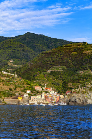 Vernazza, one of five villages in Cinque Terre National Park and is a UNESCO World Heritage Site on Italian Riviera