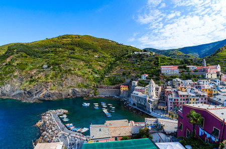 Vernazza, one of five villages in Cinque Terre National Park and is a UNESCO World Heritage Site on Italian Riviera. View from Doria Castle