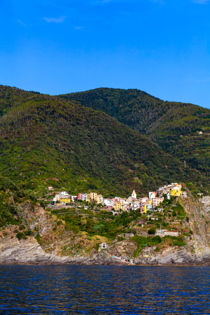 Corniglia, one of five villages in Cinque Terre National Park and is a UNESCO World Heritage Site on Italian Riviera