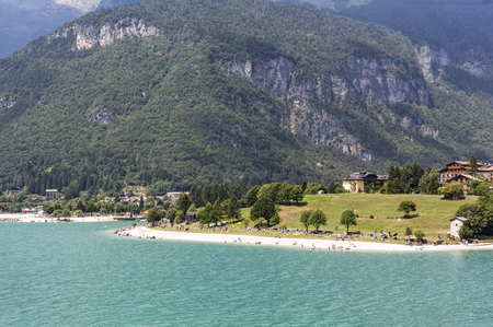 Beach on lake Molveno in Trentino in Italy, Europe