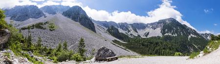 Way to Maltschacher Alm with view to Karawanks with mountains Hochstuhl, Klagenfurter Spitze and Edelweißspitzen