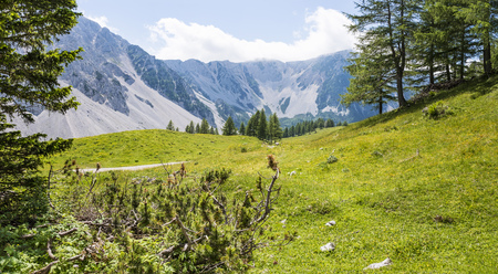 View from Maltschacher Alm to the Karawanks with mountains Hochstuhl and Weinasch Stock Photo