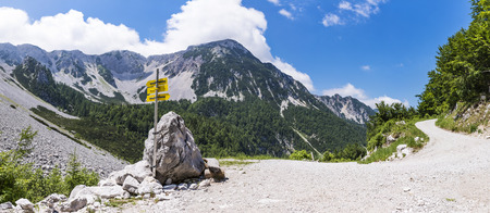 Way to Maltschacher Alm with view to Karawanks with mountain Weinasch