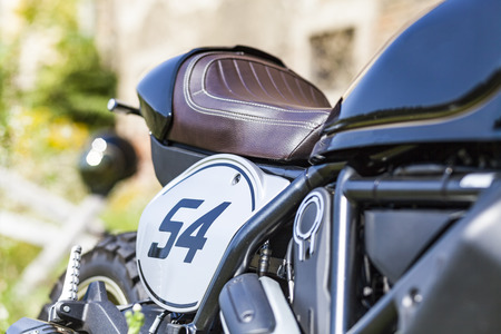 Starting number of cool looking custom made scrambler style cafe racer Stock Photo