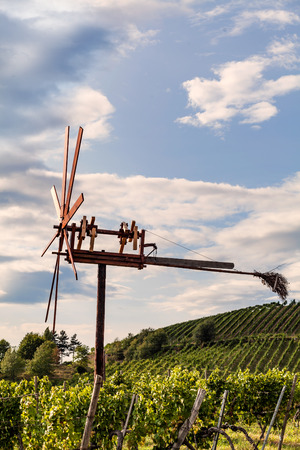Windmill called Klapotetz in vineyard along the south Styrian vine route in Austria, Europe