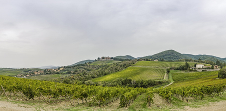 Panorama over the hills with vineyards and castle Brolio on a rainy day in Tuscany in Italy Stock Photo