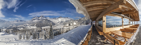 View from hut on mountain in skiresort Werfenweng to winter wonderland and Tennen mountains in Salzburg, Austria Stock Photo