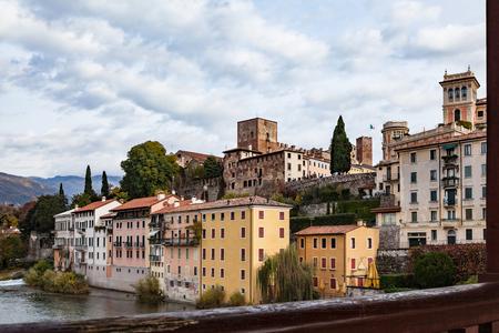 Viwe to upper castle from bridge Ponte degle Alpini in Bassano del Grappa in Italy Stock Photo