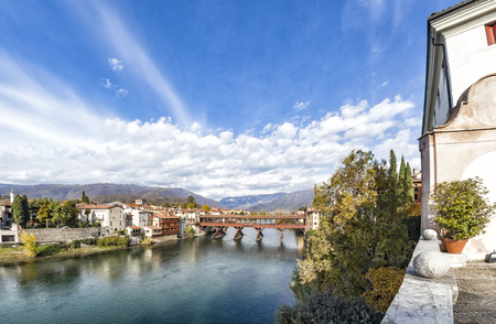 View to river Brenta and bridge Ponte degli Alpini in Bassano del Grappa in Vicenza, Italy