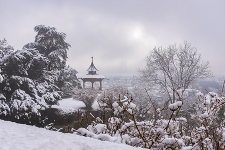Chinese Pavilion on Schlossberg in town Graz on a foggy winterday