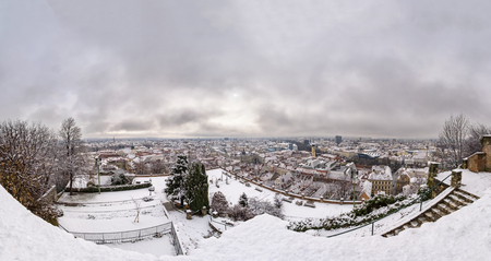 View from Schlossberg with rose garden to city Graz in Winter with some snow Stock Photo
