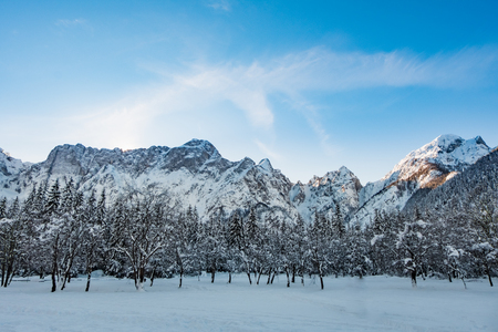 Mangart mountain range and forest seen from snow covert frozen lake Fusine in Italy