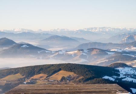 Paragliding starting ramp on mountain Schoeckl in Styria, Austria with mountainrange Hochschwab on horizont