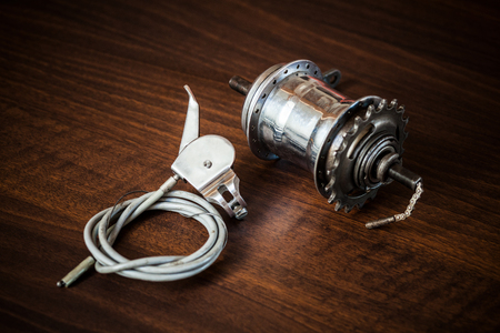 Bicycle internal-gear rear hub and shifter with cable and wire from the 1950s from Austria, Europe