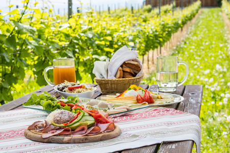 Brettljause, traditional cold plate with meat, cheese, fish, vegetable, bread and drinks on wooden table in vineyard with hut in Styria, Austria