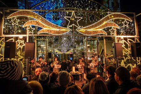 Christmas market Christkindlmarkt with Christkindl-Allee on main square in Graz, Styria, Austria