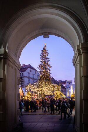 View from city hall Rathaus to Christmas market Christkindlmarkt on main square in Graz, Styria, Austria Stock Photo