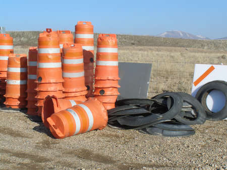 orange traffic barrels Banco de Imagens