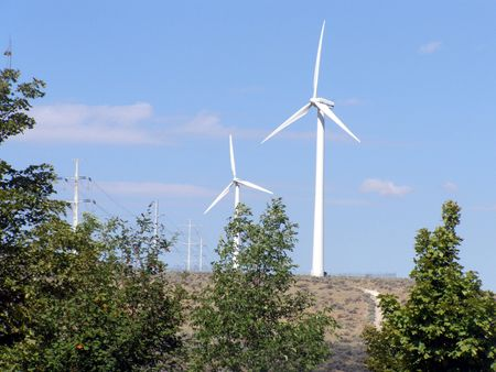 electric generating windmills      Stock Photo