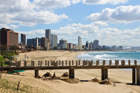 and south: Cityscape and beach of Durban, South Africa