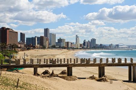 Cityscape en strand van Durban, Zuid-Afrika Stockfoto
