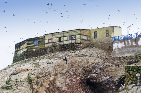 islas: Guano collectors house in Islas Ballestas Peru. These islands are an important sanctuary for marine fauna like the guanay guano bird the bluefooted booby and the tendril
