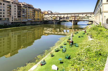 old bridge: View of Ponte Vecchio in Florence, Italy. The Ponte Vecchio Old Bridge is a Medieval stone closed-spandrel segmental arch bridge over the Arno River, in Florence, Italy.