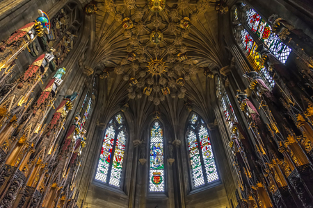 foremost: Edinburgh, Scotland - August 15, 2014: View of the Thistle Chapel in St Giles Cathedral. Is the chapel of The Most Ancient and Most Noble Order of the Thistle, Scotlands foremost Order of Chivalry.