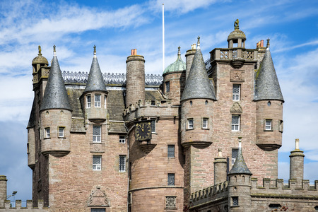 View of Glamis Castle architectural details, Scotland