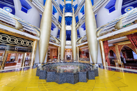 Dubai, UAE - January 08, 2012: View of Burj Al Arab lobby. Burji Al Arab is a luxury hotel located in Dubai, United Arab Emirates. At 321 m 1,053 ft, it is the fourth tallest hotel in the world.