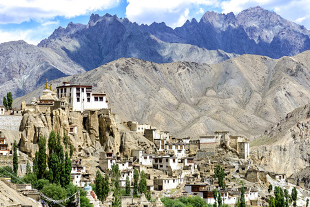 outdoor scenery: Panoramic view of Lamayuru monastery in Ladakh, India. Lamayuru is a Tibetan Buddhist monastery situated on the Srinagar-Leh highway 15 kilometres east of the Fotu La at a height of 3,510 metres. Editorial