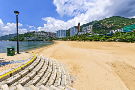 repulse: View of Repulse Bay beach in south Hong Kong island, China. The Repulse Bay area is one of the most expensive housing areas in Hong Kong.