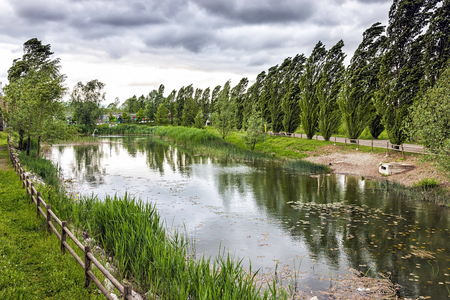 windblown: A city park with pond under heavy wind and stormy sky.