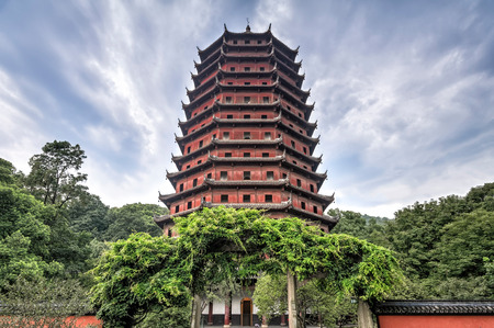 harmonies: Hangzhou, China - August 14, 2011: View of the Liuhe Pagoda at the foot of Yuelun Hill. It is Also known as the Six Harmonies Pagoda and was built in 1165 During the Southern Song Dynasty.