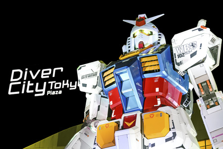 TOKYO - 21 April 2014: The 1:1 scale mobile suit Gundam RX78-2 which is 18 metres high from Mobile Suit Gundam anime series. Is located in Odaiba in front of the Diver City.