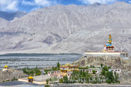 metre: The 32 metre (106 foot) statue of Maitreya Buddha near Diskit monastery in Ladakh, India. The statues construction was started in April 2006 and it was consecrated by the Dalai Lama on 25072010.