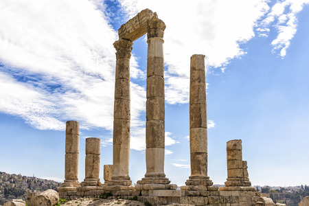 the hashemite kingdom of jordan: View of Temple of Hercules in Amman, Jordan. It is the most significant Roman structure in the Amman Citadel, which is considered to be among the worlds oldest continuously inhabited places.