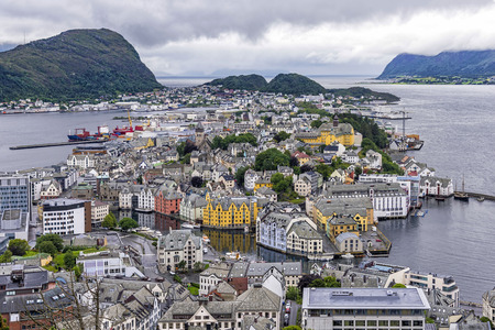 Aerial view of Alesund town, Norway. Alesund is part of the traditional district of Sunnmore and is a sea port, noted for its unique concentration of Art Nouveau architecture Stock Photo