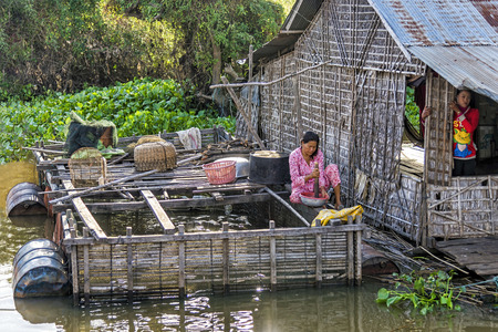 hydrological: Tonle Sap lake, Cambodia - January 04, 2017: View of a woman working in her floating house. Tonle Sap refers to a freshwater lake that form the central part of cambodian hydrological system