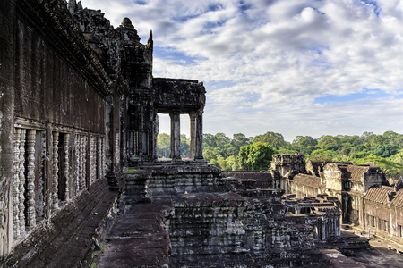 Angkor Wat terrace. This is a temple complex in Cambodia and the largest religious monument in the world originally constructed as a Hindu temple. It is the countrys prime attraction for visitors