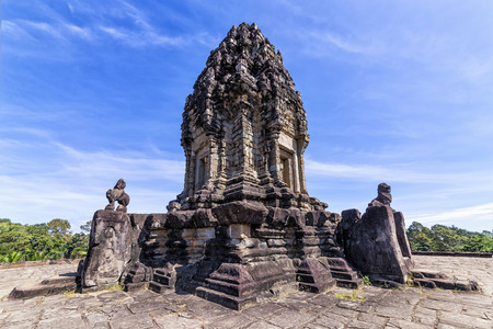 The Bakong temple pyramid summit, located near Siem Reap, Cambodia. The structure of Bakong took shape of stepped pyramid, popularly identified as temple mountain of early Khmer temple architecture