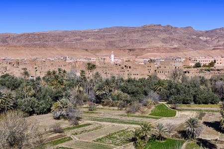 Ait Boujane, Morocco - December 28, 2017: View of The Ksar Ait Boujane in Todra valley. Ksar is the North African Meghrebi Arabic term for
