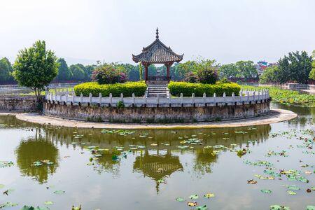 Lotus pool at Jianshui Temple of Confucius, China